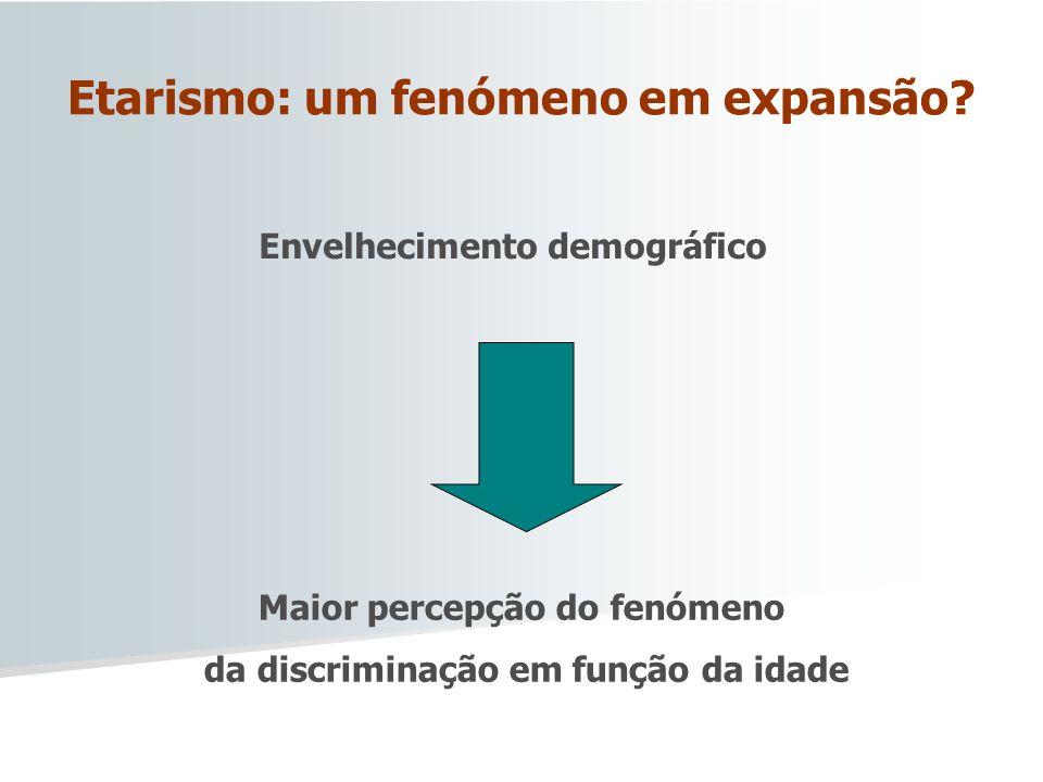 Etarismo: um fenómeno em expansão? Envelhecimento demográfico Maior percepção do fenómeno da discriminação em função da idade