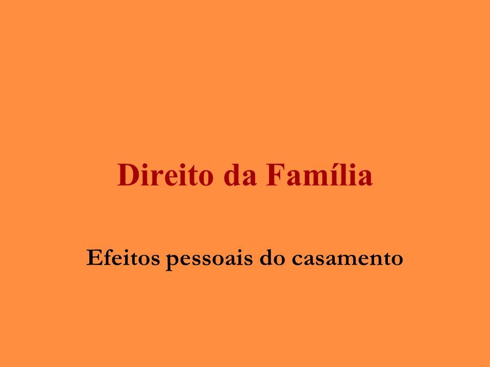 Direito da Família Efeitos pessoais do casamento