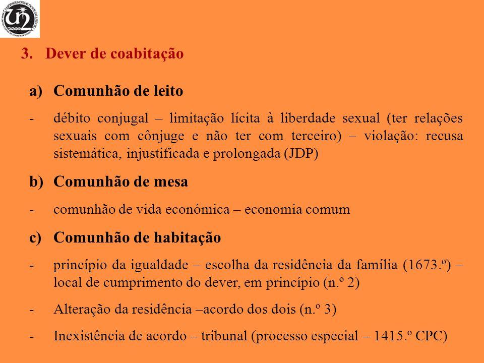 a)Comunhão de leito -débito conjugal – limitação lícita à liberdade sexual (ter relações sexuais com cônjuge e não ter com terceiro) – violação: recus