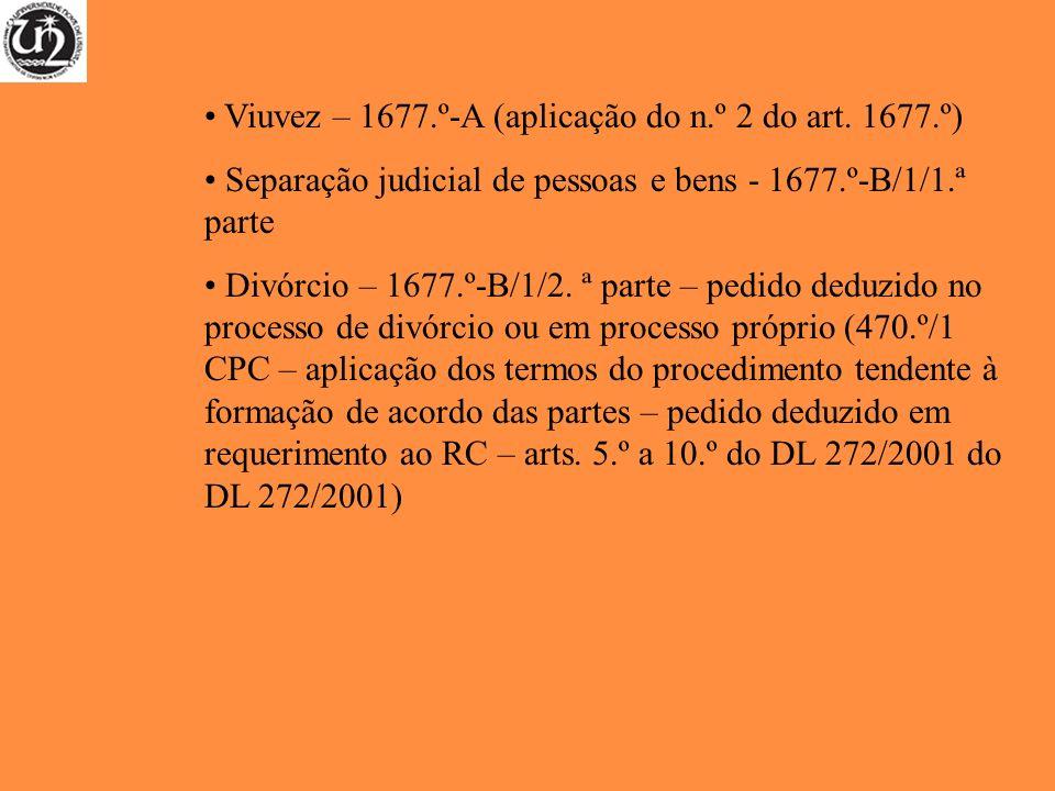 Viuvez – 1677.º-A (aplicação do n.º 2 do art. 1677.º) Separação judicial de pessoas e bens - 1677.º-B/1/1.ª parte Divórcio – 1677.º-B/1/2. ª parte – p