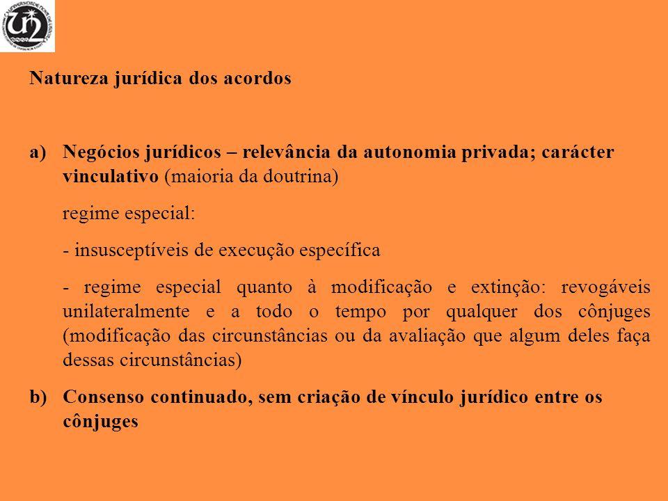 Natureza jurídica dos acordos a)Negócios jurídicos – relevância da autonomia privada; carácter vinculativo (maioria da doutrina) regime especial: - in