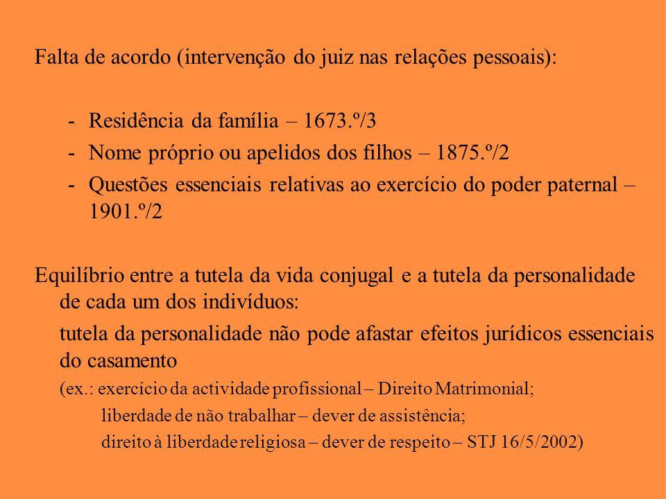 Falta de acordo (intervenção do juiz nas relações pessoais): -Residência da família – 1673.º/3 -Nome próprio ou apelidos dos filhos – 1875.º/2 -Questõ