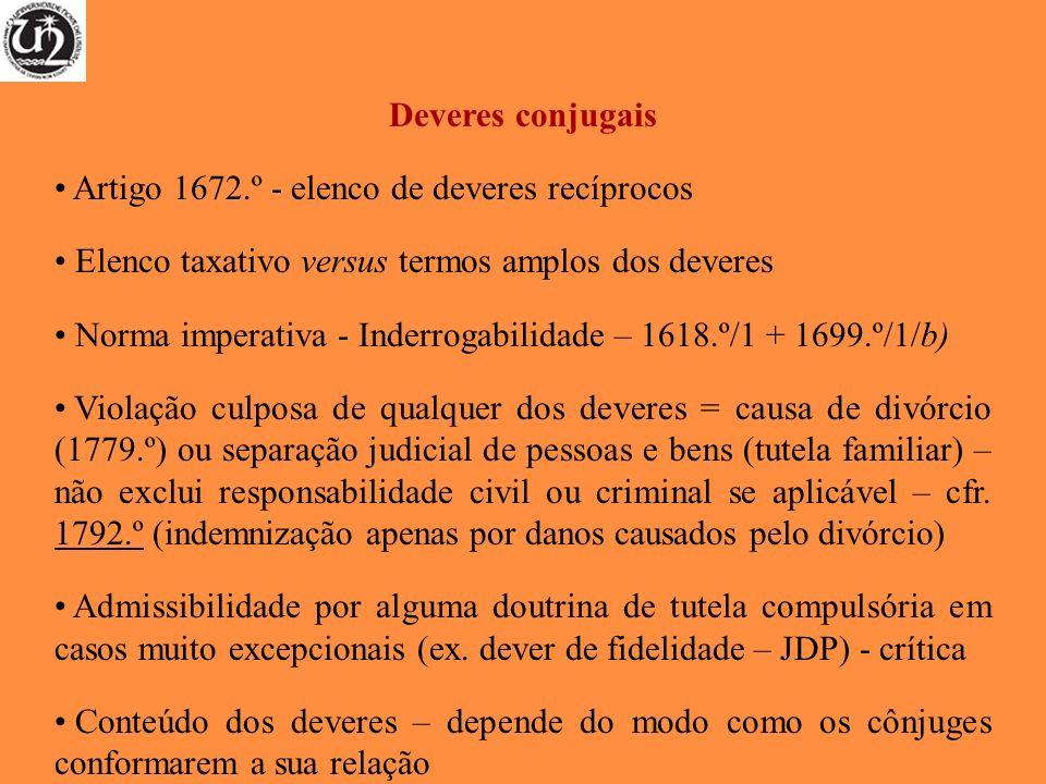 Deveres conjugais Artigo 1672.º - elenco de deveres recíprocos Elenco taxativo versus termos amplos dos deveres Norma imperativa - Inderrogabilidade –