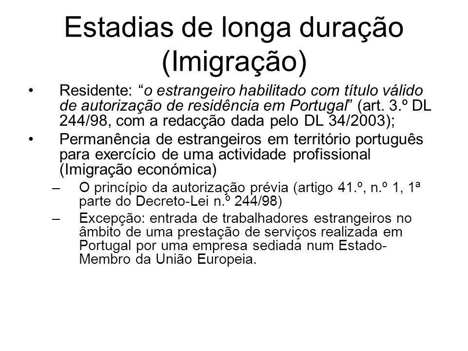 Estadias de longa duração (Imigração) Residente: o estrangeiro habilitado com título válido de autorização de residência em Portugal (art. 3.º DL 244/