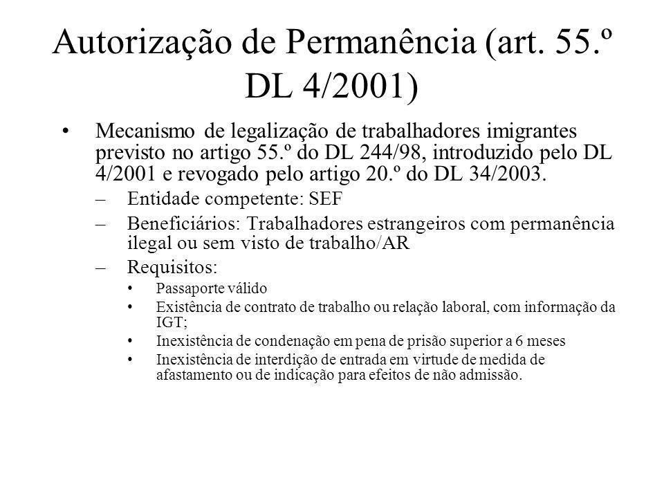 Autorização de Permanência (art. 55.º DL 4/2001) Mecanismo de legalização de trabalhadores imigrantes previsto no artigo 55.º do DL 244/98, introduzid