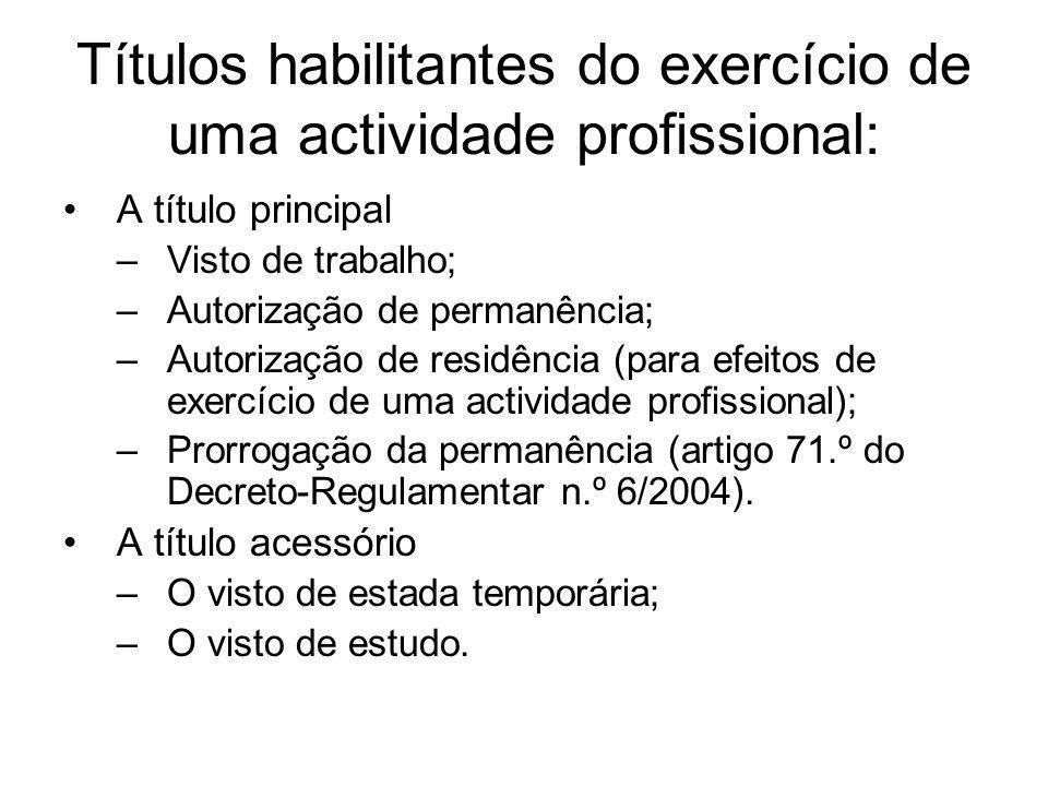 Títulos habilitantes do exercício de uma actividade profissional: A título principal –Visto de trabalho; –Autorização de permanência; –Autorização de