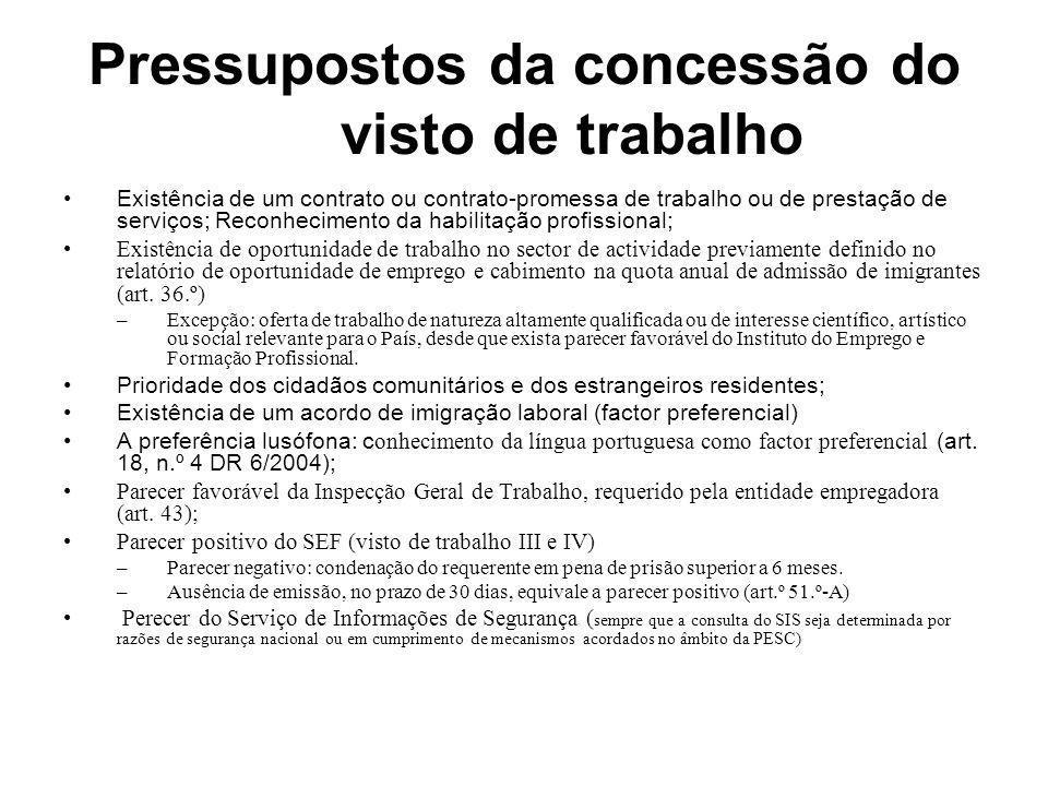Pressupostos da concessão do visto de trabalho Existência de um contrato ou contrato-promessa de trabalho ou de prestação de serviços; Reconhecimento