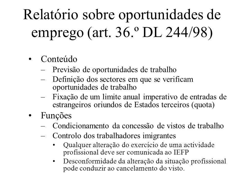 Relatório sobre oportunidades de emprego (art. 36.º DL 244/98) Conteúdo –Previsão de oportunidades de trabalho –Definição dos sectores em que se verif