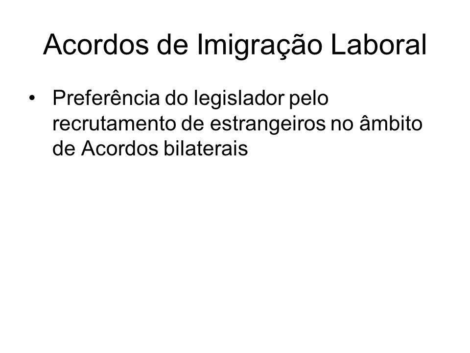 Acordos de Imigração Laboral Preferência do legislador pelo recrutamento de estrangeiros no âmbito de Acordos bilaterais