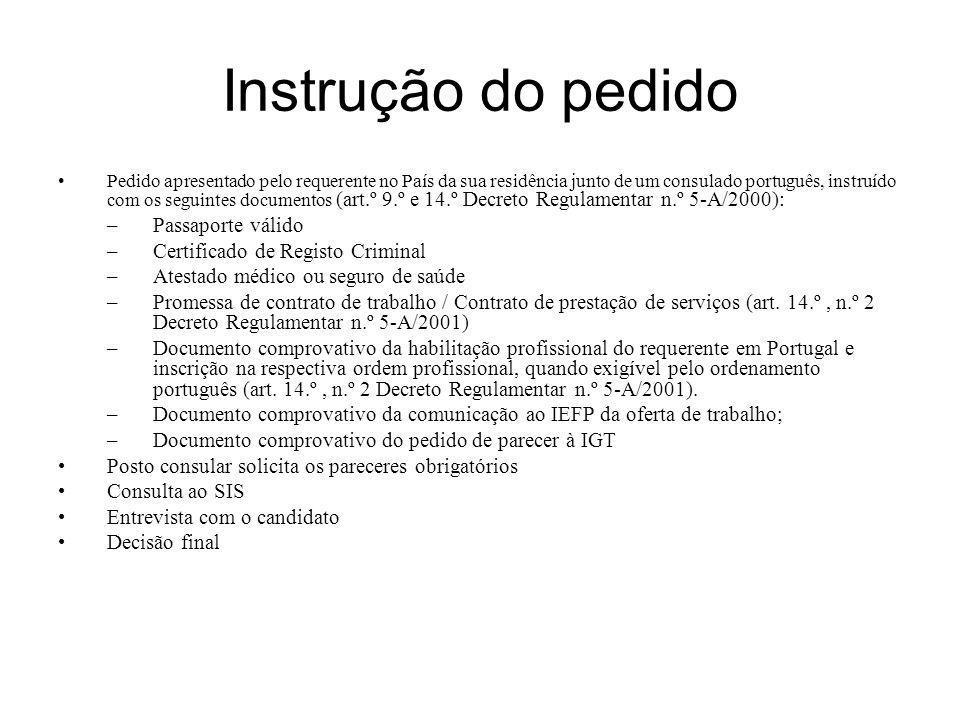 Instrução do pedido Pedido apresentado pelo requerente no País da sua residência junto de um consulado português, instruído com os seguintes documento
