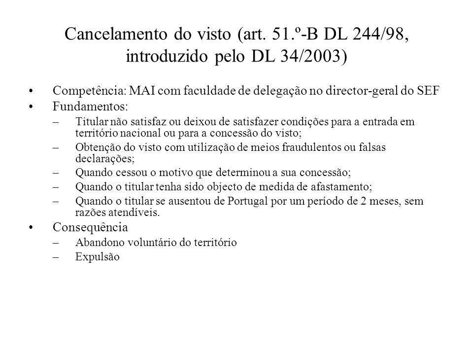 Cancelamento do visto (art. 51.º-B DL 244/98, introduzido pelo DL 34/2003) Competência: MAI com faculdade de delegação no director-geral do SEF Fundam