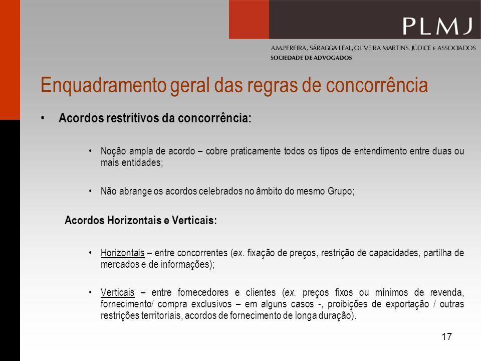 17 Enquadramento geral das regras de concorrência Acordos restritivos da concorrência: Noção ampla de acordo – cobre praticamente todos os tipos de en