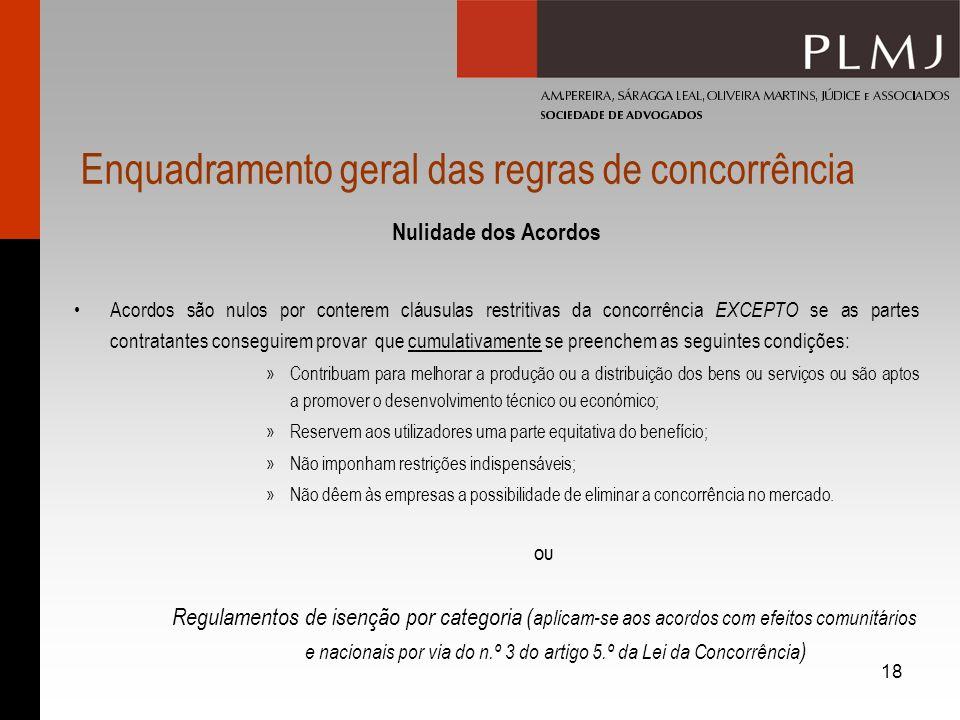 18 Enquadramento geral das regras de concorrência Nulidade dos Acordos Acordos são nulos por conterem cláusulas restritivas da concorrência EXCEPTO se