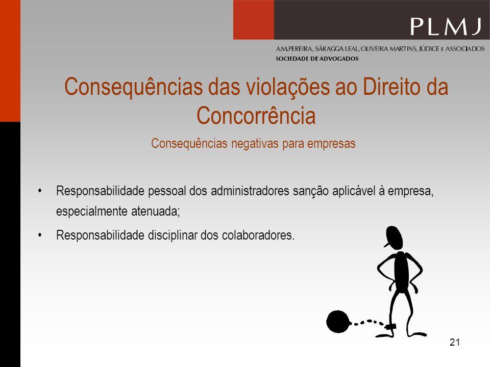 21 Consequências das violações ao Direito da Concorrência Consequências negativas para empresas Responsabilidade pessoal dos administradores sanção ap