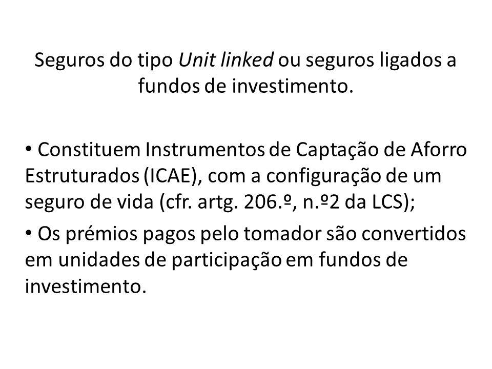 Seguros do tipo Unit linked ou seguros ligados a fundos de investimento. Constituem Instrumentos de Captação de Aforro Estruturados (ICAE), com a conf
