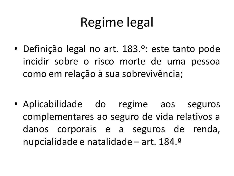 Regime legal Definição legal no art. 183.º: este tanto pode incidir sobre o risco morte de uma pessoa como em relação à sua sobrevivência; Aplicabilid