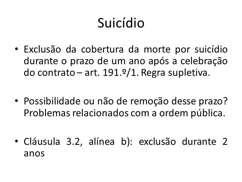 Suicídio Exclusão da cobertura da morte por suicídio durante o prazo de um ano após a celebração do contrato – art. 191.º/1. Regra supletiva. Possibil