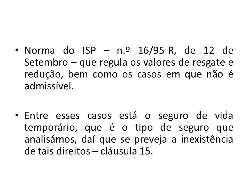 Norma do ISP – n.º 16/95-R, de 12 de Setembro – que regula os valores de resgate e redução, bem como os casos em que não é admissível. Entre esses cas