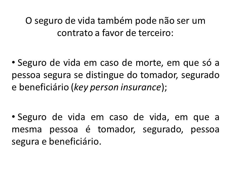 O seguro de vida também pode não ser um contrato a favor de terceiro: Seguro de vida em caso de morte, em que só a pessoa segura se distingue do tomad