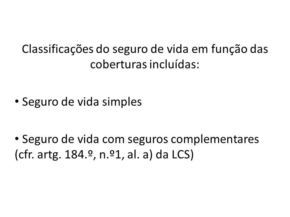 Classificações do seguro de vida em função das coberturas incluídas: Seguro de vida simples Seguro de vida com seguros complementares (cfr. artg. 184.