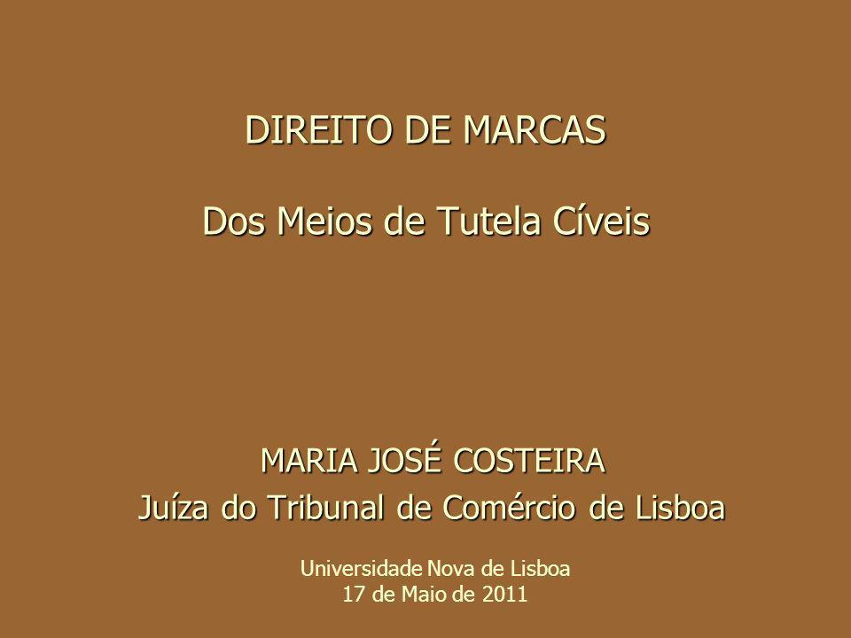 DIREITO DE MARCAS Dos Meios de Tutela Cíveis MARIA JOSÉ COSTEIRA Juíza do Tribunal de Comércio de Lisboa Universidade Nova de Lisboa 17 de Maio de 201