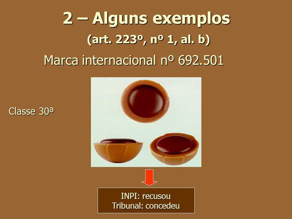 2 – Alguns exemplos (art. 223º, nº 1, al. b) Marca internacionalnº 692.501 Classe 30ª INPI: recusou Tribunal: concedeu