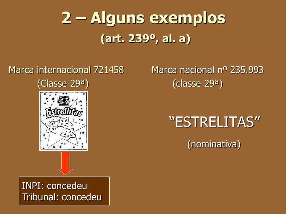 2 – Alguns exemplos (art. 239º, al. a) Marca internacional 721458 Marca nacional nº 235.993 (Classe 29ª) (classe 29ª) ESTRELITAS ESTRELITAS (nominativ