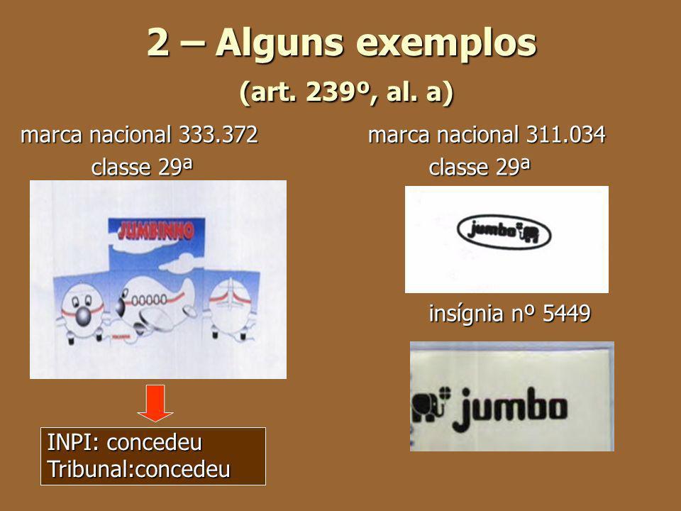 2 – Alguns exemplos (art. 239º, al. a) marca nacional 333.372 marca nacional 311.034 classe 29ªclasse 29ª classe 29ªclasse 29ª insígnia nº 5449 INPI: