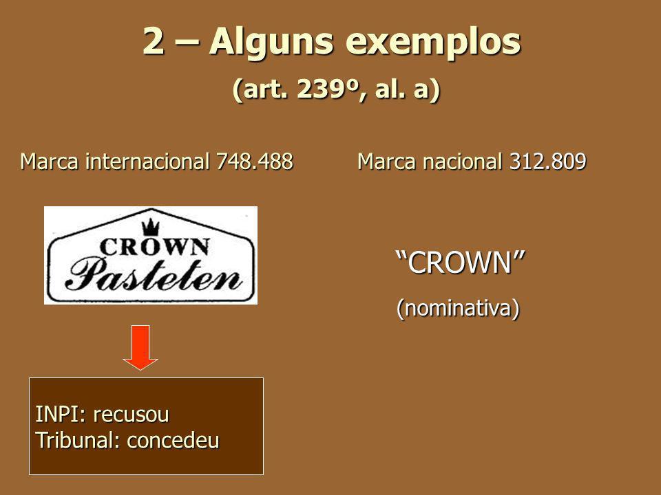 2 – Alguns exemplos (art. 239º, al. a) Marca internacional 748.488 Marca nacional 312.809 CROWN CROWN (nominativa) (nominativa) INPI: recusou Tribunal