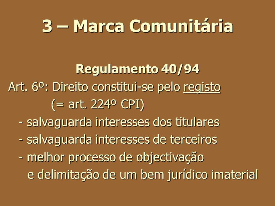 3 – Marca Comunitária Regulamento 40/94 Art. 6º: Direito constitui-se pelo registo (= art. 224º CPI) (= art. 224º CPI) - salvaguarda interesses dos ti