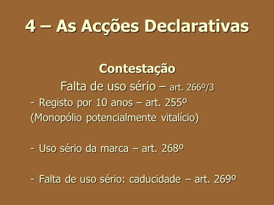 4 – As Acções Declarativas Contestação Falta de uso sério – art. 266º/3 -Registo por 10 anos – art. 255º (Monopólio potencialmente vitalício) -Uso sér