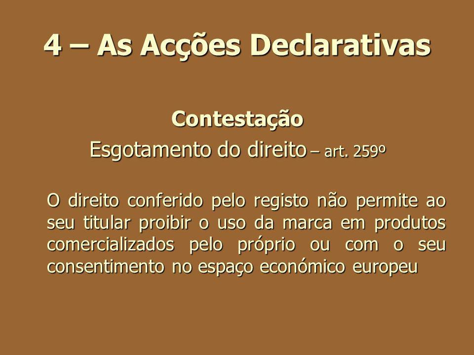 4 – As Acções Declarativas Contestação Esgotamento do direito – art. 259º O direito conferido pelo registo não permite ao seu titular proibir o uso da