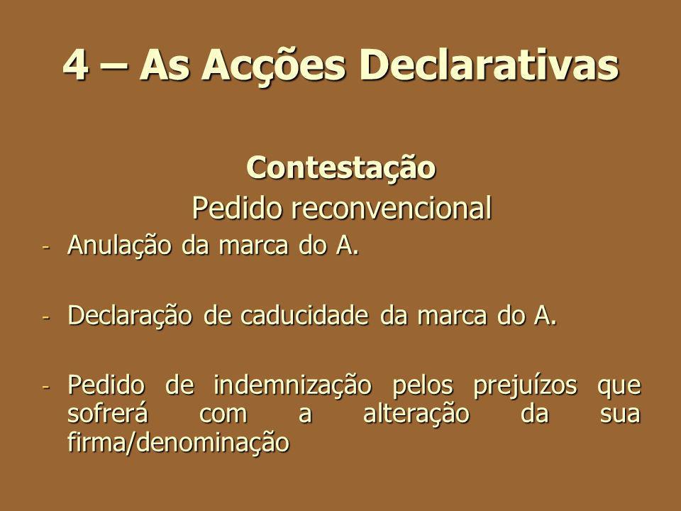 4 – As Acções Declarativas Contestação Pedido reconvencional - Anulação da marca do A. - Declaração de caducidade da marca do A. - Pedido de indemniza