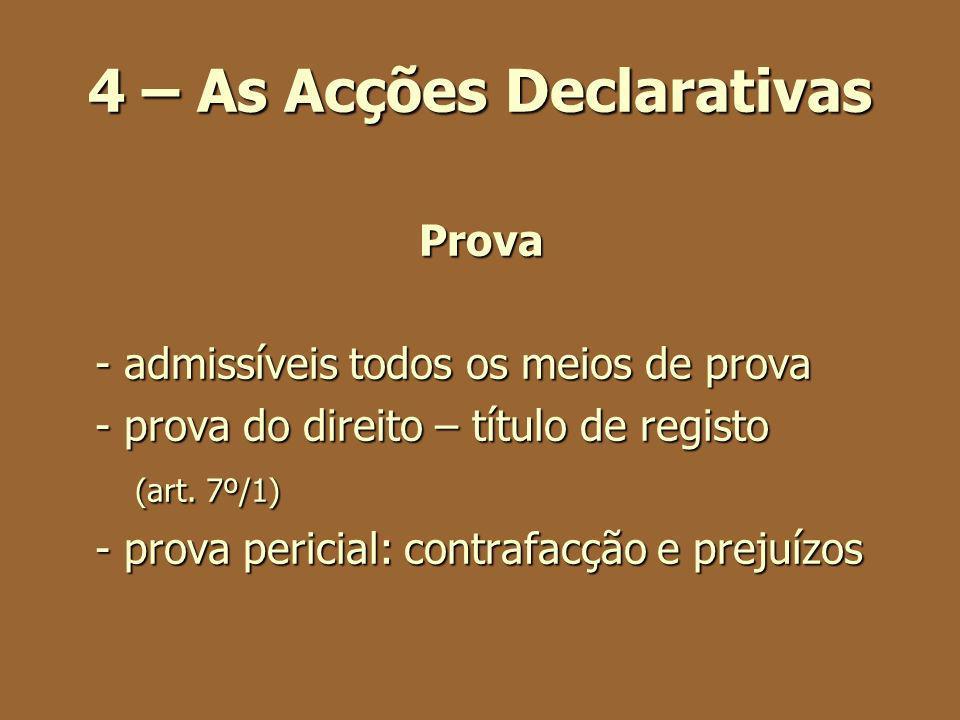 4 – As Acções Declarativas Prova - admissíveis todos os meios de prova - prova do direito – título de registo (art. 7º/1) (art. 7º/1) - prova pericial