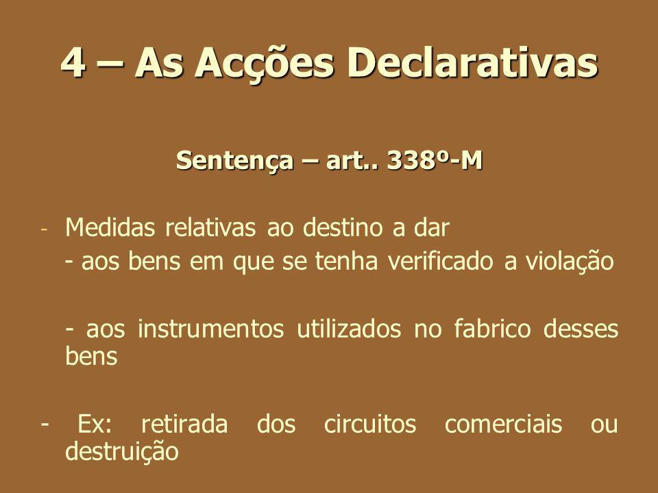 4 – As Acções Declarativas Sentença – art.. 338º-M - - Medidas relativas ao destino a dar - aos bens em que se tenha verificado a violação - aos instr