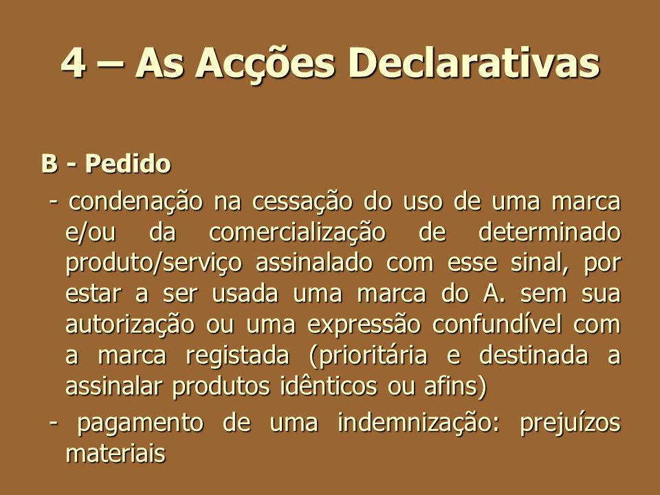 4 – As Acções Declarativas B - Pedido - condenação na cessação do uso de uma marca e/ou da comercialização de determinado produto/serviço assinalado c
