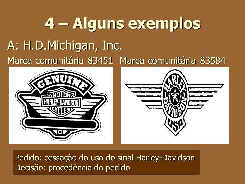 4 – Alguns exemplos A: H.D.Michigan, Inc. Marca comunitária 83451 Marca comunitária 83584 Pedido: cessação do uso do sinal Harley-Davidson Decisão: pr