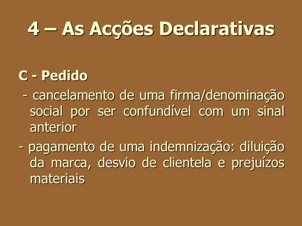 4 – As Acções Declarativas C - Pedido - cancelamento de uma firma/denominação social por ser confundível com um sinal anterior - cancelamento de uma f