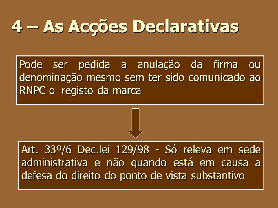 4 – As Acções Declarativas Art. 33º/6 Dec.lei 129/98 - Só releva em sede administrativa e não quando está em causa a defesa do direito do ponto de vis