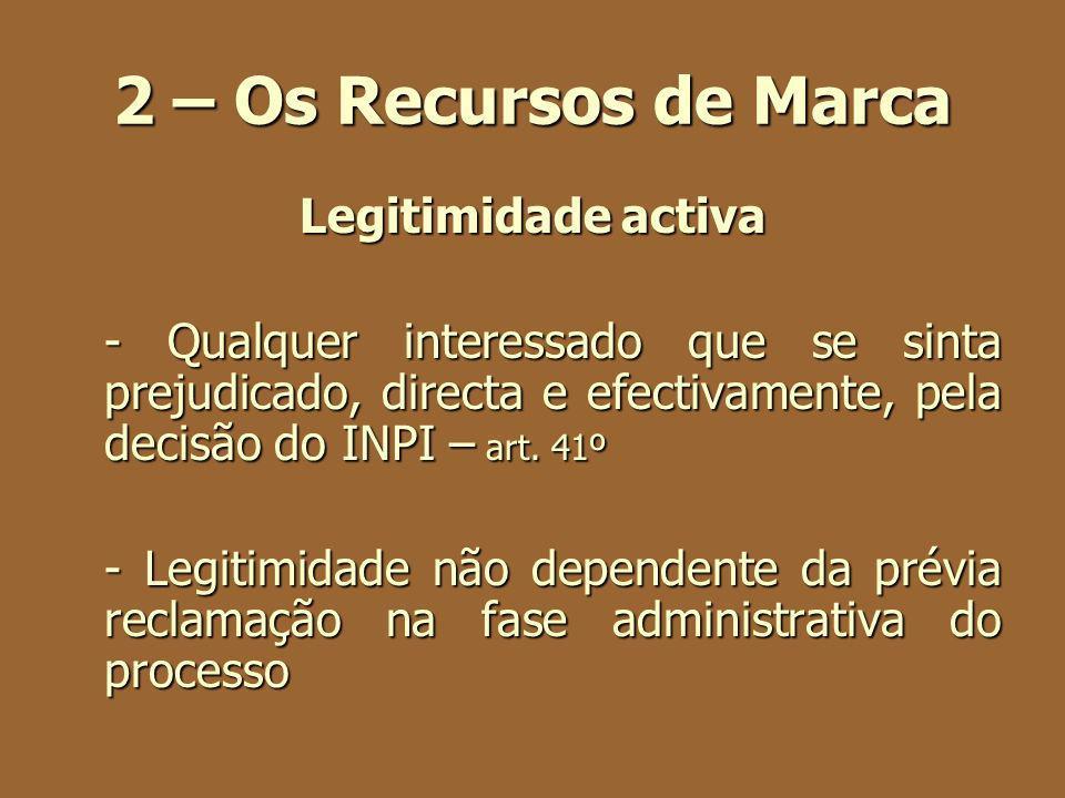 2 – Os Recursos de Marca Legitimidade activa - Qualquer interessado que se sinta prejudicado, directa e efectivamente, pela decisão do INPI – art. 41º