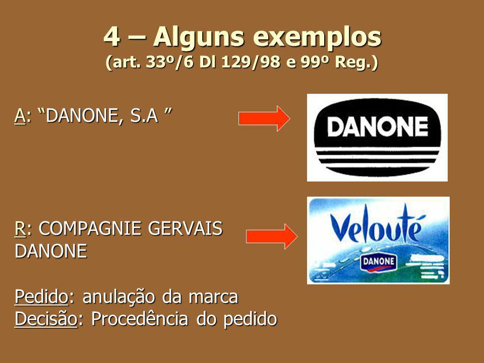 4 – Alguns exemplos (art. 33º/6 Dl 129/98 e 99º Reg.) A: DANONE, S.A A: DANONE, S.A R: COMPAGNIE GERVAIS DANONE Pedido: anulação da marca Decisão: Pro