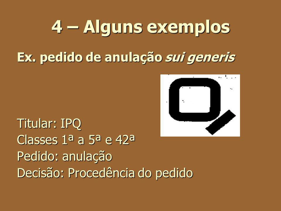 4 – Alguns exemplos Ex. pedido de anulação sui generis Titular: IPQ Classes 1ª a 5ª e 42ª Pedido: anulação Decisão: Procedência do pedido