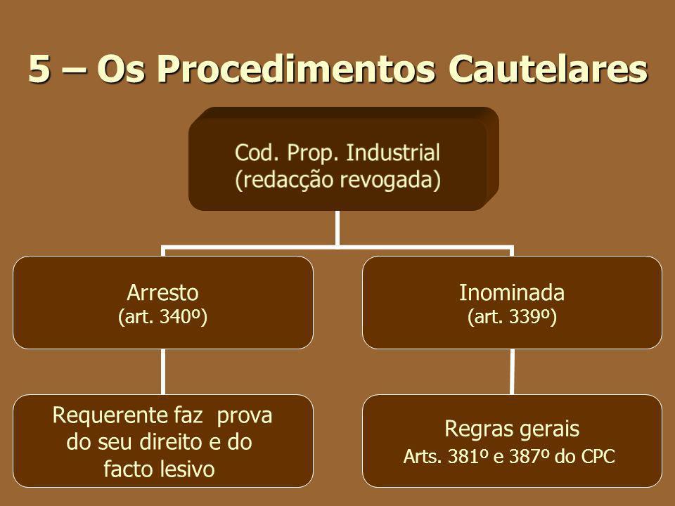 5 – Os Procedimentos Cautelares Cod. Prop. Industrial (redacção revogada) Arresto (art. 340º) Requerente faz prova do seu direito e do facto lesivo In