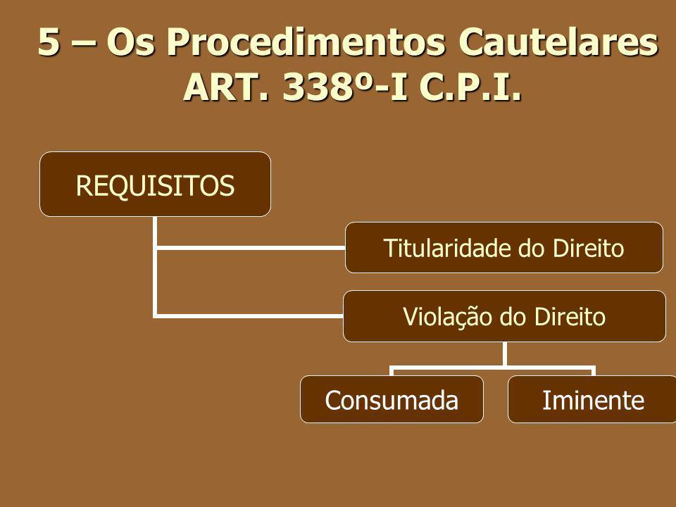 5 – Os Procedimentos Cautelares ART. 338º-I C.P.I. REQUISITOS Titularidade do Direito Violação do Direito ConsumadaIminente