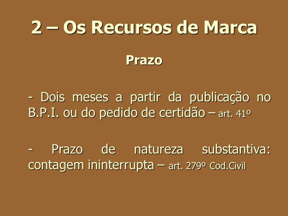 2 – Os Recursos de Marca Prazo - Dois meses a partir da publicação no B.P.I. ou do pedido de certidão – art. 41º - Prazo de natureza substantiva: cont