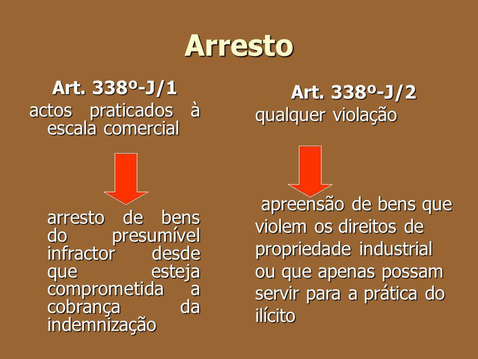 Arresto Art. 338º-J/1 actos praticados à escala comercial arresto de bens do presumível infractor desde que esteja comprometida a cobrança da indemniz