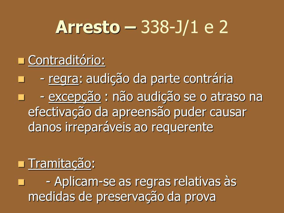 Arresto – Arresto – 338-J/1 e 2 Contraditório: Contraditório: - regra: audição da parte contrária - regra: audição da parte contrária - excepção : não