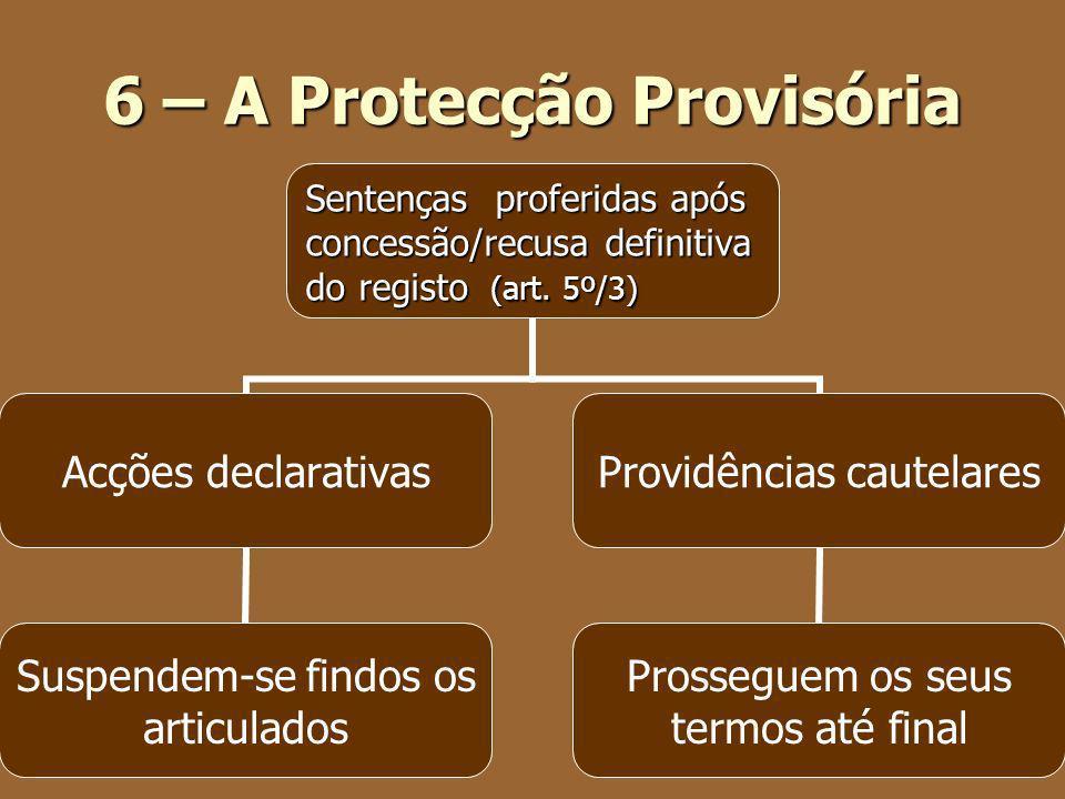 6 – A Protecção Provisória Sentenças proferidas após Sentenças proferidas após concessão/recusa definitiva concessão/recusa definitiva do registo (art