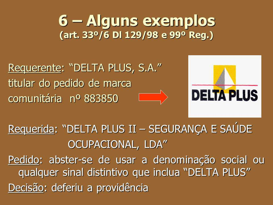 6 – Alguns exemplos (art. 33º/6 Dl 129/98 e 99º Reg.) Requerente: DELTA PLUS, S.A. titular do pedido de marca comunitária nº 883850 Requerida: DELTA P