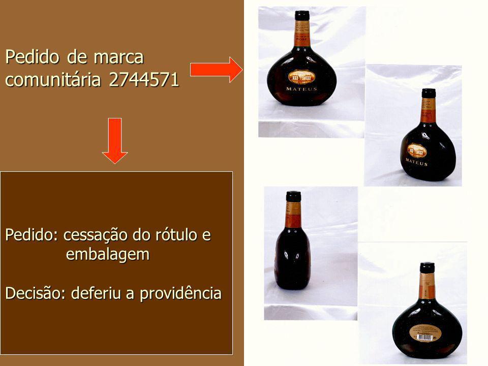 Pedido de marca comunitária 2744571 Pedido: cessação do rótulo e embalagem embalagem Decisão: deferiu a providência